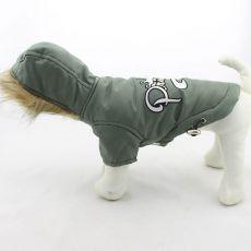 Vetrovka pre psa s kapucňou - olivová, L