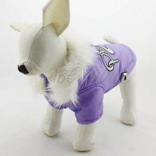 Vetrovka pre psa s kapucňou - fialová, XXS