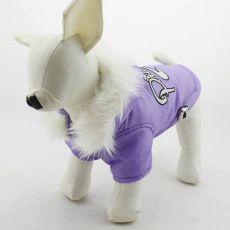 Vetrovka pre psa s kapucňou - fialová, XS
