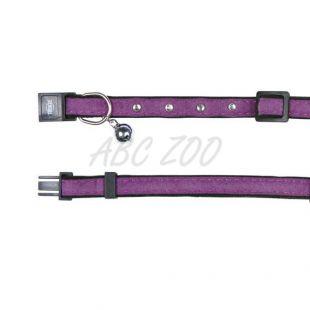 Obojok pre mačku, fialový semiš - 18 - 30 cm