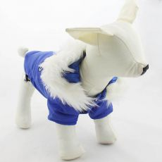 Vetrovka pre psa s kapucňou - modrá, M