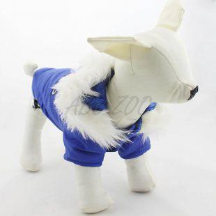 Vetrovka pre psa s kapucňou - modrá, XL