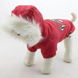 Vetrovka pre psa s kapucňou - červená, XL