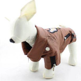 Koženka pre psov - hnedá s orlom, XL