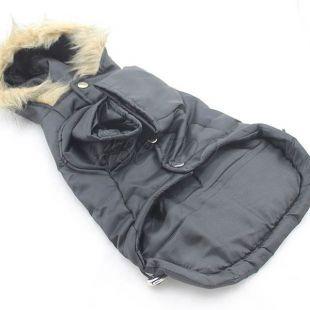 Kabát pre veľkých psov - čierny s kapucňou, L-S