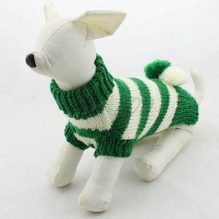Sveter pre psov - pletený zelenobiely, M