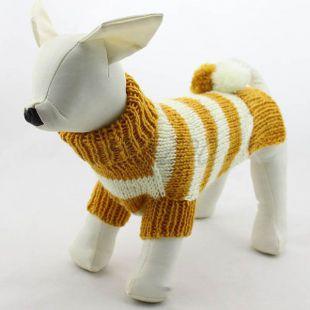 Sveter pre psov - pletený žltobiely, XL