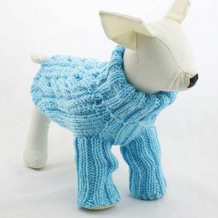 Sveter pre psov - pletený modrý, L