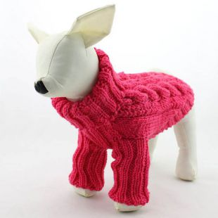 Sveter pre psov - pletený tmavoružový, M
