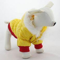 Vetrovka pre psa - červenožltá s kapucňou, S