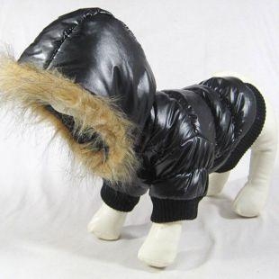 Vetrovka pre psa - čierna s kapucňou, XXS