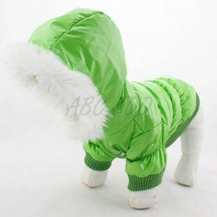 Vetrovka pre psa - zelená s kapucňou, XS