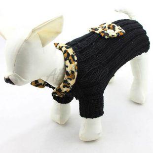 Sveter pre psov - pletený čierny leopard, L