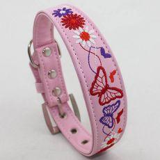 Obojok pre psa, ružový - vyšité kvetiny, L