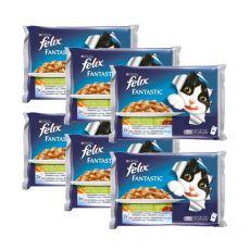 Kapsičky pre mačky FELIX - mäso so zeleninou, 6 x 400 g