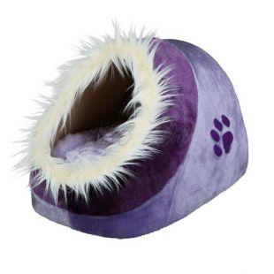 Plyšový fialový pelech Minou pre psy a mačky - 35x26x41cm