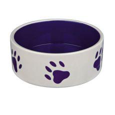 Miska pre psov, keramická - fialové labky, objem 0,8 l