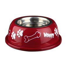 Miska pre psa s plastovým okrajom, červená - 0,45 L