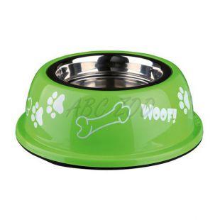 Miska pre psa s plastovým okrajom, zelená - 0,45 L