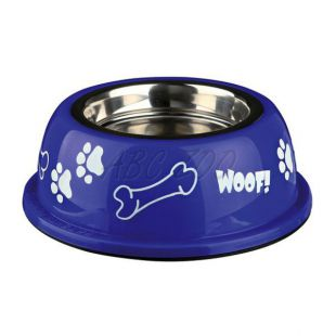 Miska pre psa s plastovým okrajom, modrá - 0,45 L