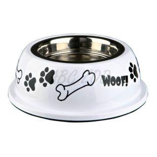 Miska pre psa s plastovým okrajom, biela - 0,9 L