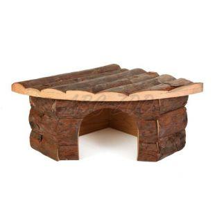 Domček pre hlodavce drevený, rohový - 22x15x10,5cm