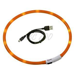 LED obojok pre psy DOG FANTASY - oranžový, 70 cm