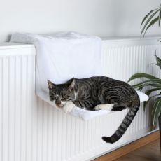 Pelech pre mačky na radiátor, biely plyš - 45x24x31