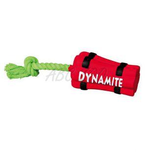 Hračka pre psov z latexu - dynamit s lanom, 22cm