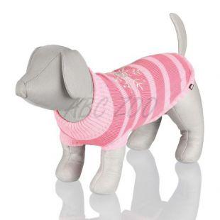 Sveter pre psa s prúžkami, ružový - S / 40cm