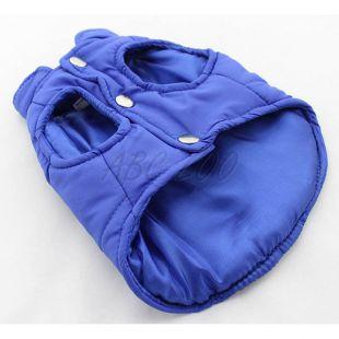 Vestička pre psa - prešívaná modrej farby, M