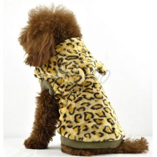 Kožuch pre psov - leopard s kapucňou, zlatá, L