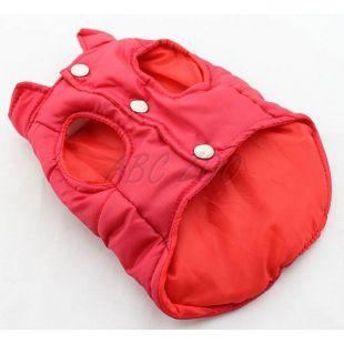 Vestička pre psa - prešívaná červenej farby, L