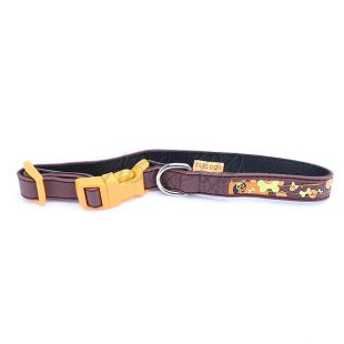 Obojok pre psov s motívom kostičiek, hnedý - 1,5 x 35cm