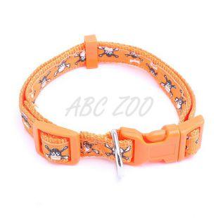 Obojok pre psa s motívmi lebky, oranžový - L / 2 x 60cm