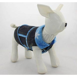 Riflová vesta pre psa - modré kvietky, L