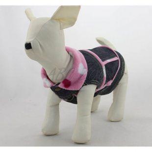 Riflová vesta pre psa - ružové srdiečka, XS