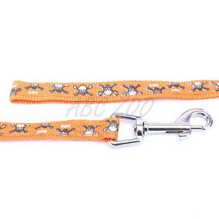 Vodítko pre psov s motívom lebky, oranžové - L / 2x120cm