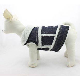 Riflová vesta pre psa - biela kožušinka, L