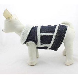 Riflová vesta pre psa - biela kožušinka, XL