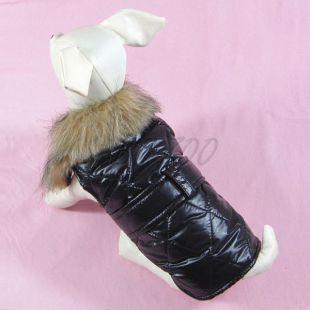 Vestička pre psa čierna s kožušinkou - L