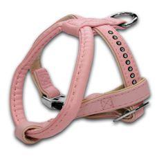 Postroj s kamienkami pre psa, ružový - 1,5x25x30cm