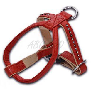 Postroj s kamienkami pre psa, červený - 1,5x25x30cm