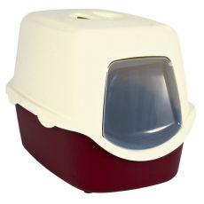 Toaleta pre mačky s dvierkami a rukoväťou - červená