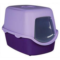 Toaleta pre mačky s dvierkami a rukoväťou - fialová