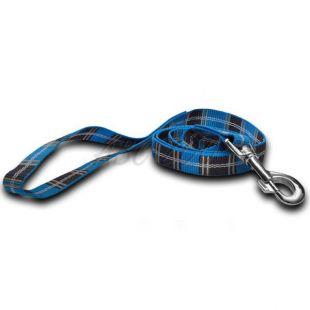 Nylonové vodítko pre psa - kárované modré 2 x 120 cm