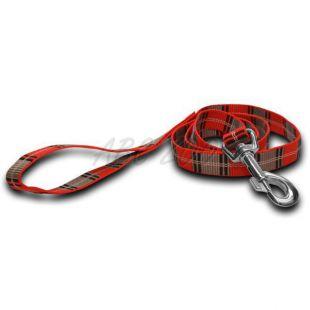 Nylonové vodítko pre psa - kárované červenosivé 1,6 x 120 cm