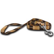 Nylonové vodítko pre psa - kárované hnedé 2 x 120 cm