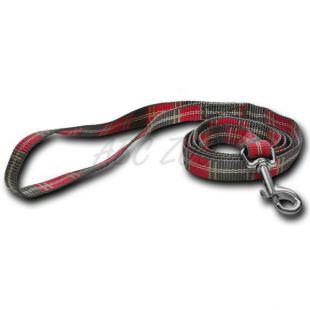 Nylonové vodítko pre psa - kárované sivoružové 1,6 x 120 cm
