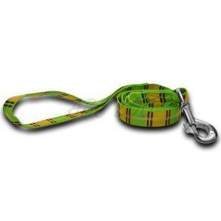 Nylonové vodítko pre psa - kárované zelenožlté 1,6 x 120 cm